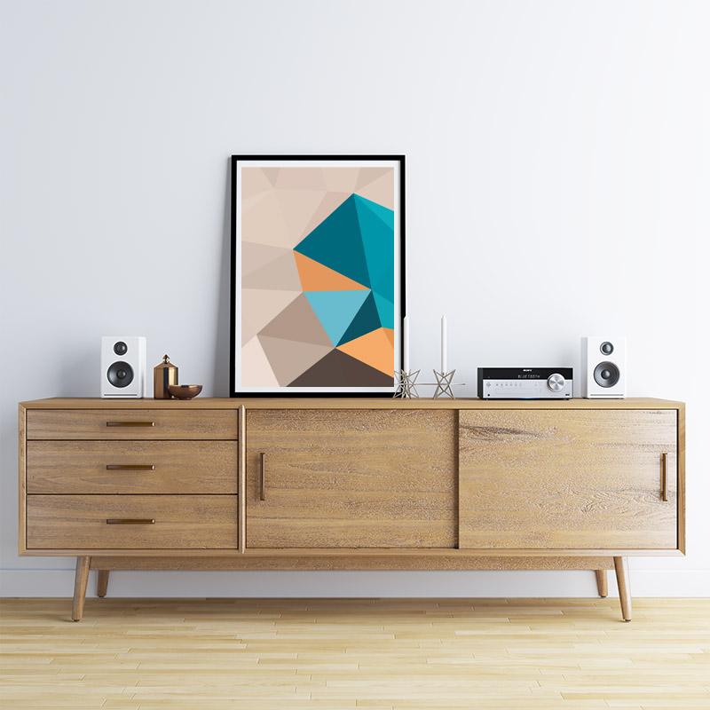 Brown, blue and orange polygon geometric downloadable wall art, digital print