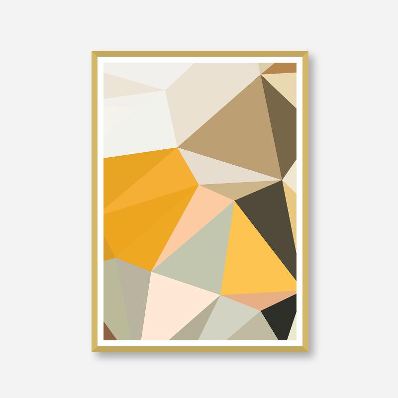 Brown, orange and green polygon geometric downloadable wall art