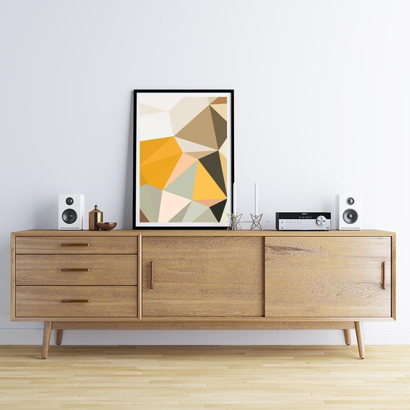 Brown, orange and green polygon geometric downloadable wall art, digital print