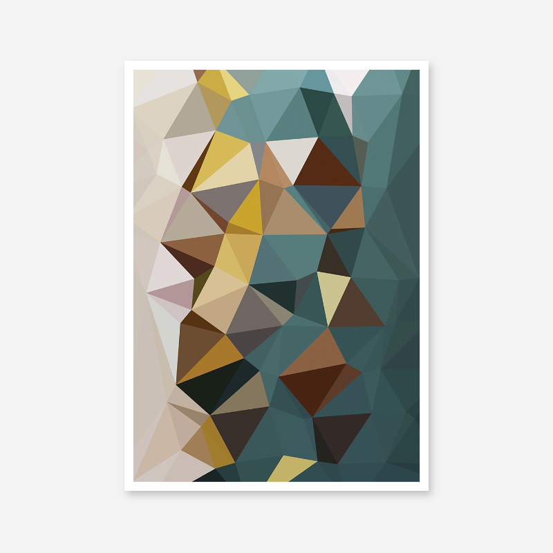Brown, teal, yellow polygon geometric free printable wall art