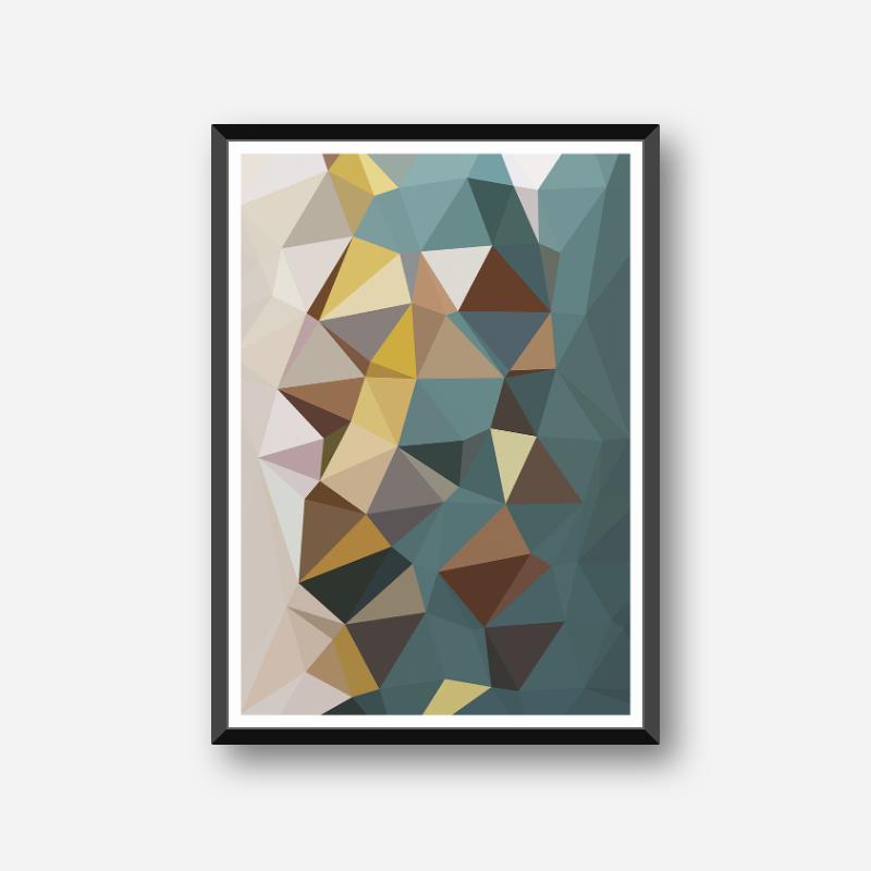 Brown, teal, yellow polygon geometric free printable wall art