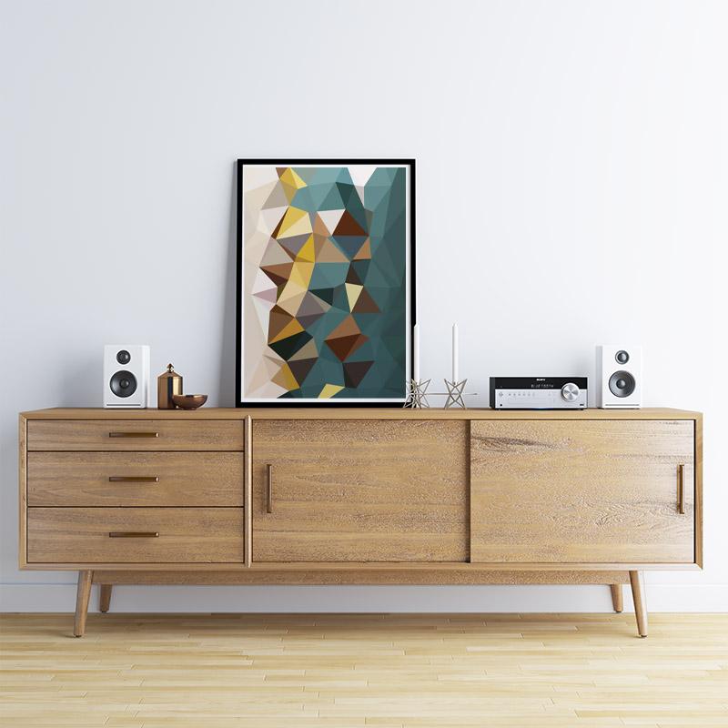 Brown, teal, yellow polygon geometric free printable wall art, digital print