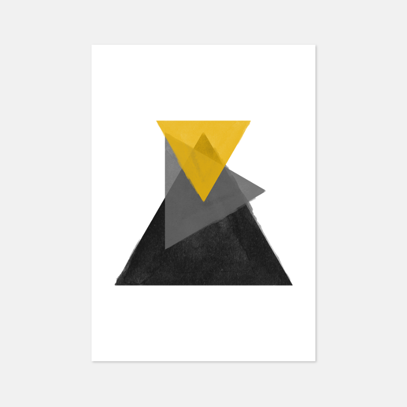Black grey and yellow watercolour triangles downloadable wall art