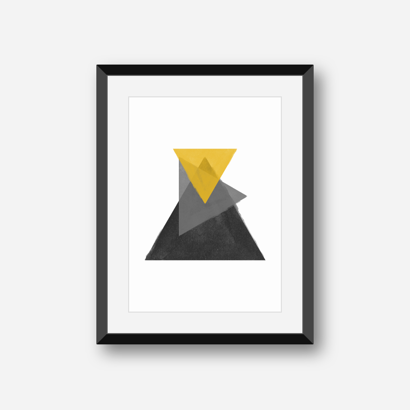 Black grey and yellow watercolour triangles downloadable wall art, digital print