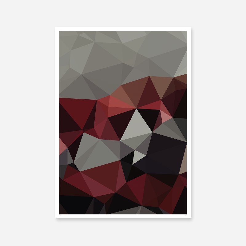 Grey, black and red polygon geometric free printable wall art