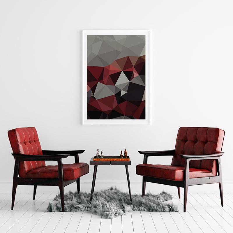 Grey, black and red polygon geometric free printable wall art, digital print