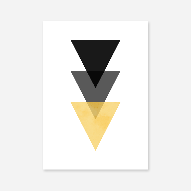 Black, grey and yellow triangles minimalist Scandinavian nordic style downloadable wall art