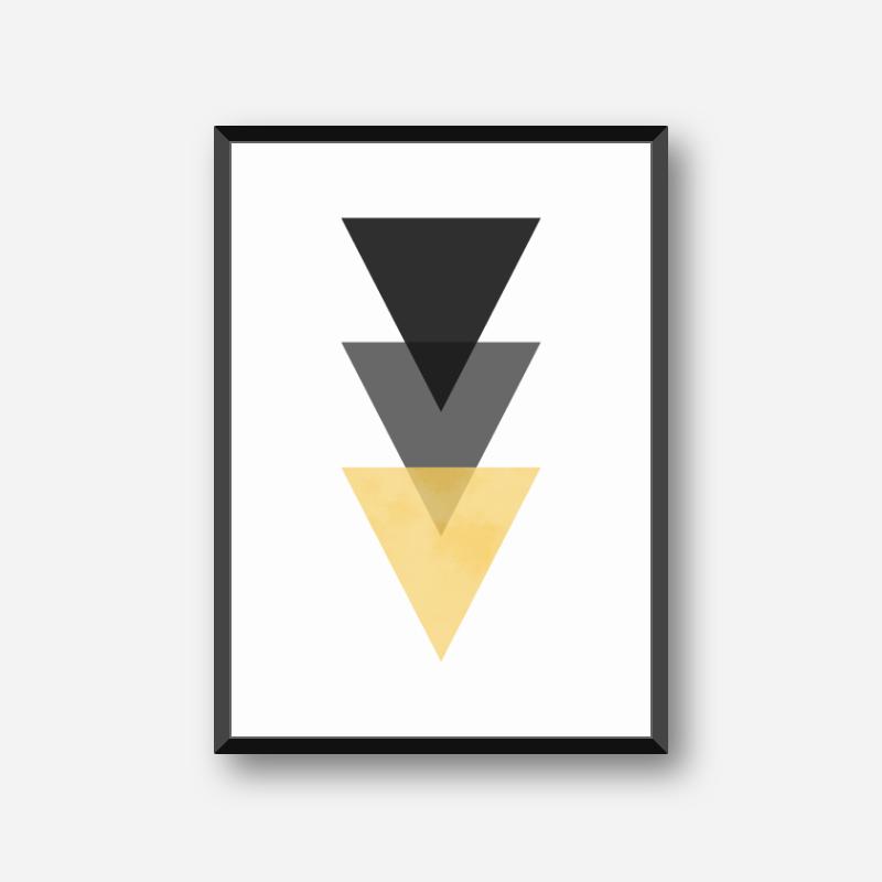 Black, grey and yellow triangles minimalist Scandinavian nordic style downloadable wall art, digital print
