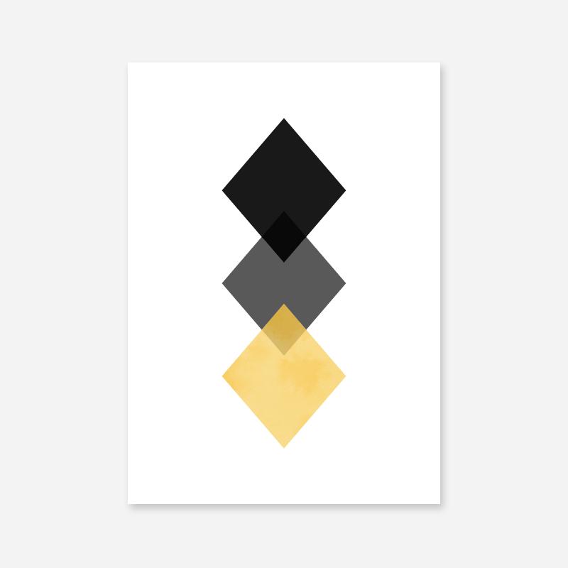Black, grey and yellow rhombus minimalist Scandinavian nordic style downloadable wall art