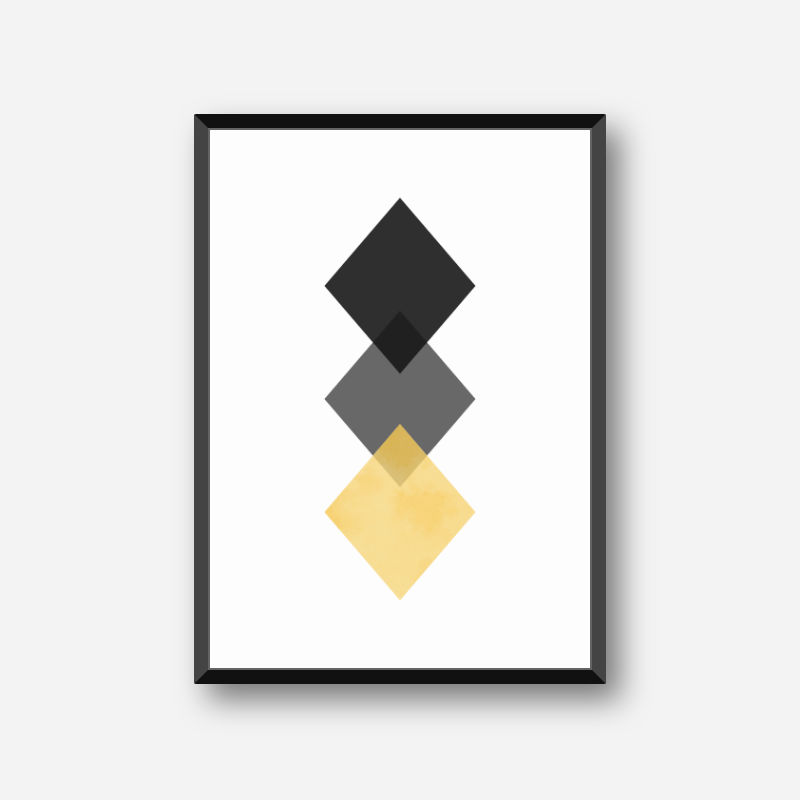 Black, grey and yellow rhombus minimalist Scandinavian nordic style downloadable wall art, digital print