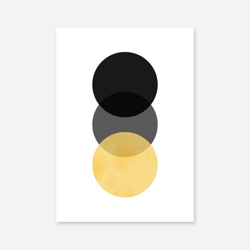Black, grey and yellow circle minimalist Scandinavian nordic style downloadable wall art