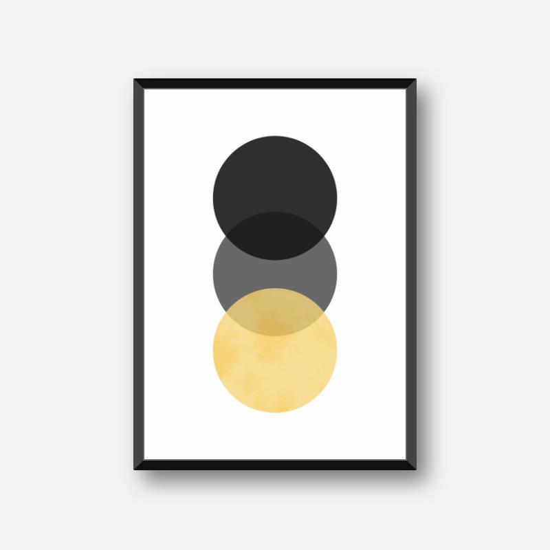 Black, grey and yellow circle minimalist Scandinavian nordic style downloadable wall art, digital print