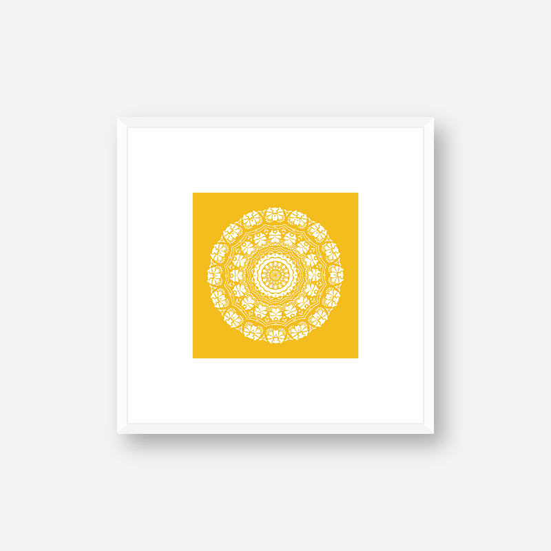 Abstract floral pattern with yellow background minimalist downloadable printable wall art, digital print