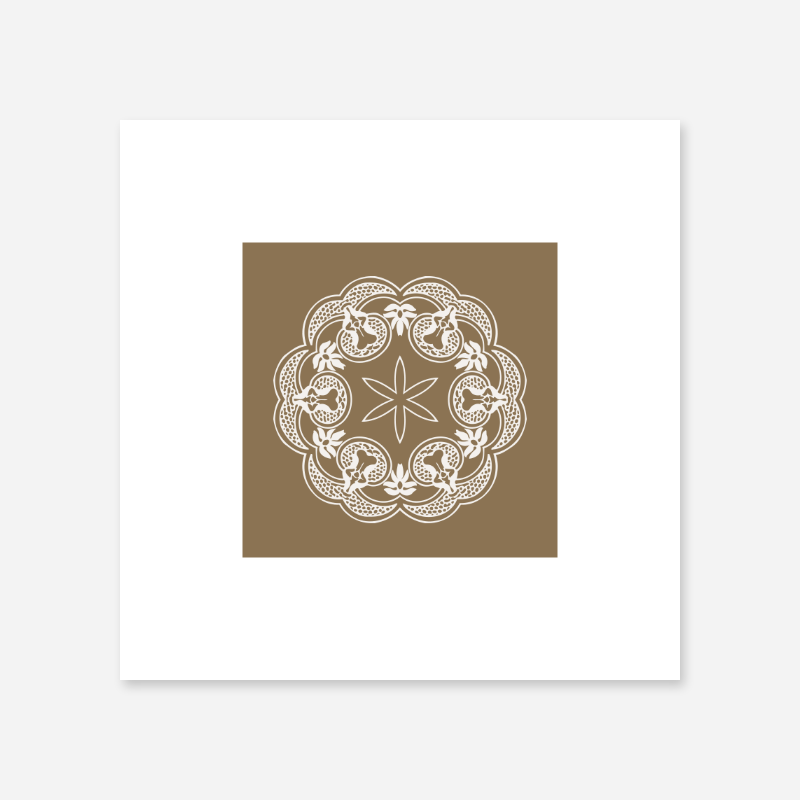 Abstract floral pattern with brown background minimalist printable wall art