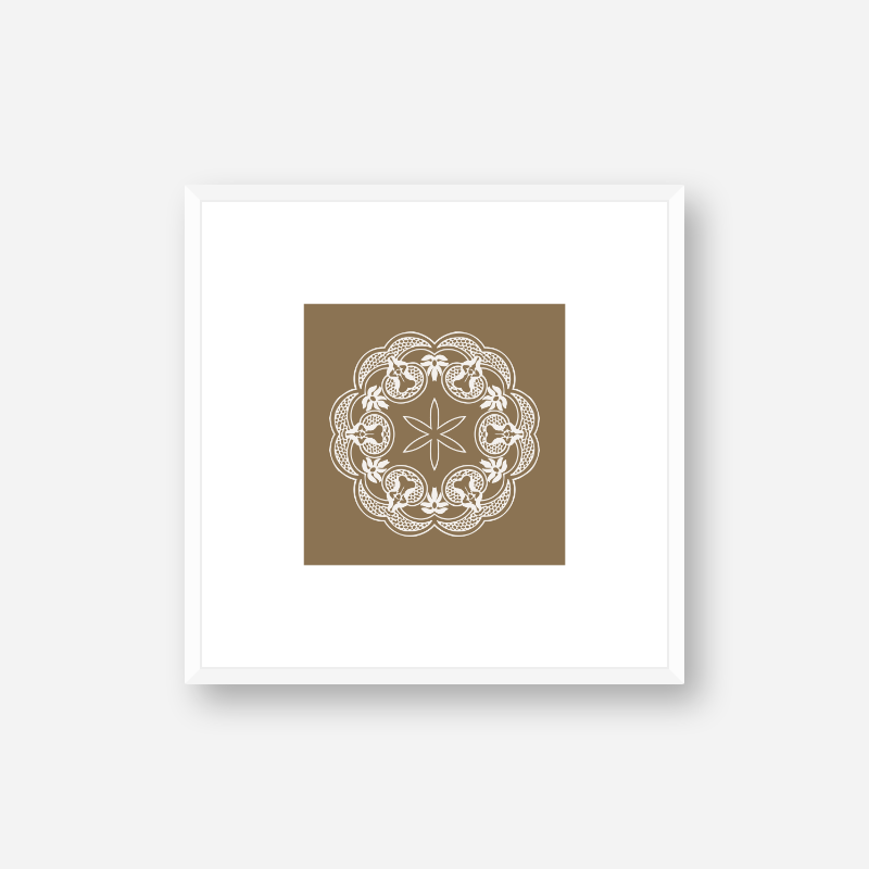 Abstract floral pattern with brown background minimalist printable wall art, digital print
