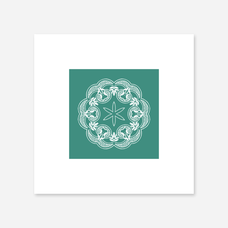 Abstract floral pattern with green teal background minimalist printable wall art