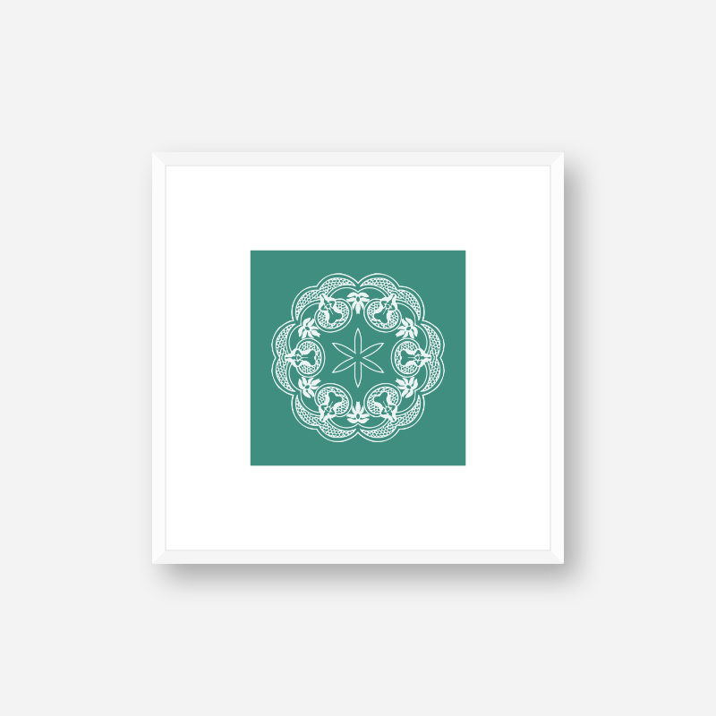 Abstract floral pattern with green teal background minimalist printable wall art, digital print