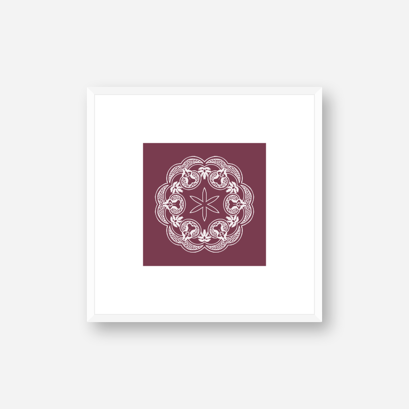 Abstract floral pattern with burgundy background minimalist printable wall art, digital print