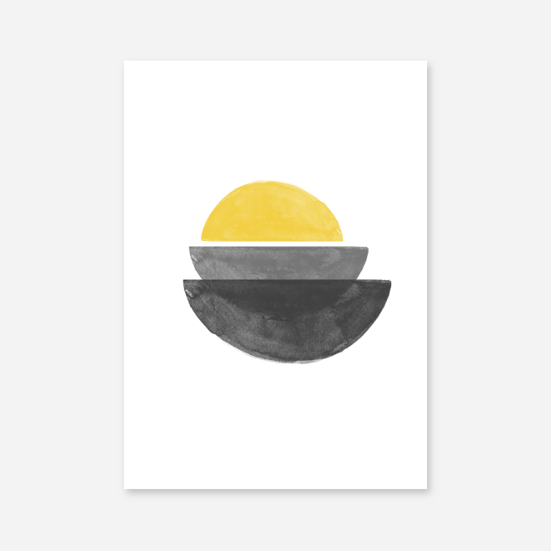 Black grey and yellow watercolour abstract shapes downloadable wall art
