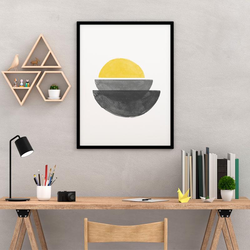 Black grey and yellow watercolour abstract shapes downloadable wall art, digital print