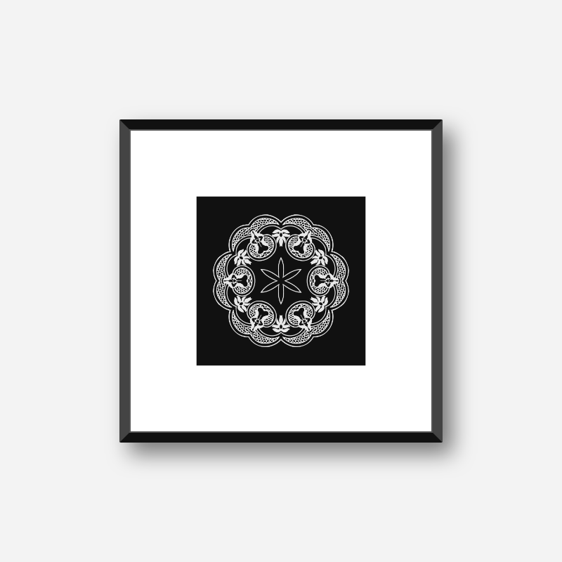 Abstract floral pattern with black background minimalist printable wall art, digital print
