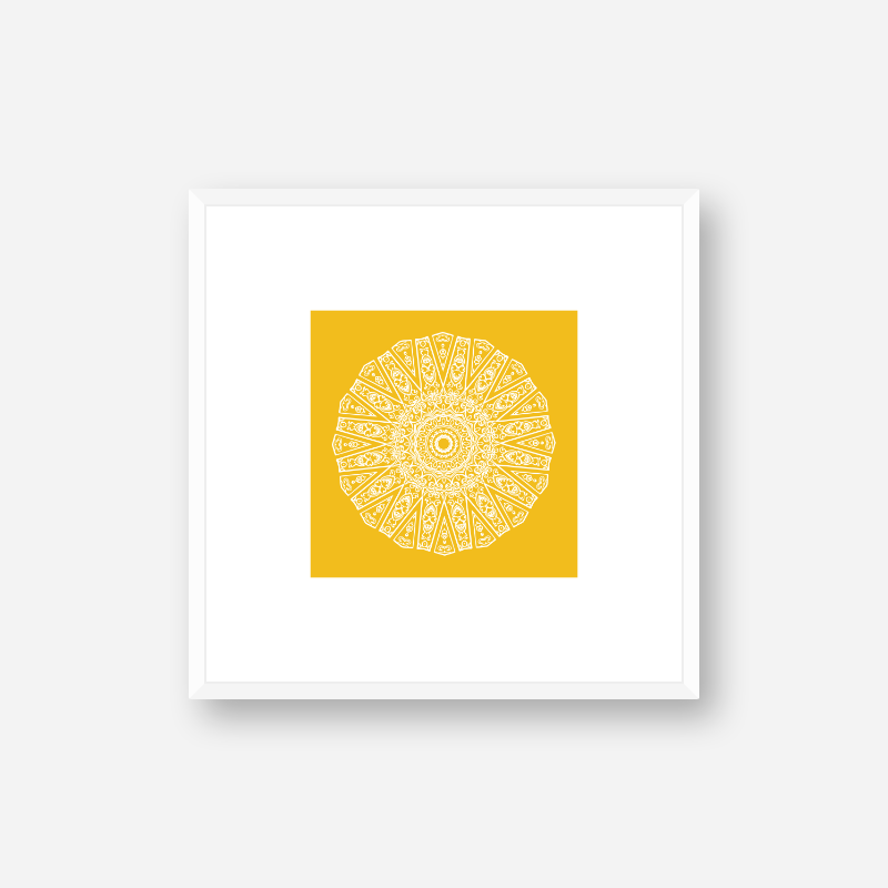 Abstract circle pattern with yellow background minimalist printable wall art, digital print