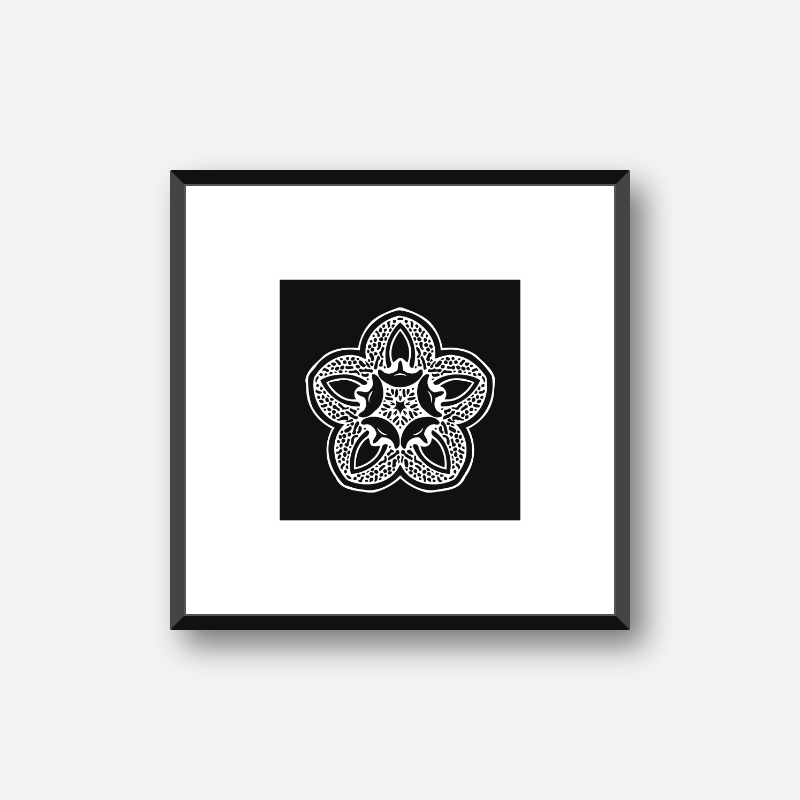 Abstract floral pattern with black background minimalist downloadable printable wall art, digital print