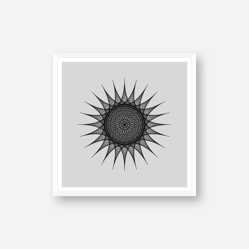 Abstract geometric sun pattern with grey background minimalist downloadable printable wall art, digital print