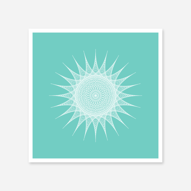 Abstract geometric sun pattern with light green background minimalist downloadable printable wall art