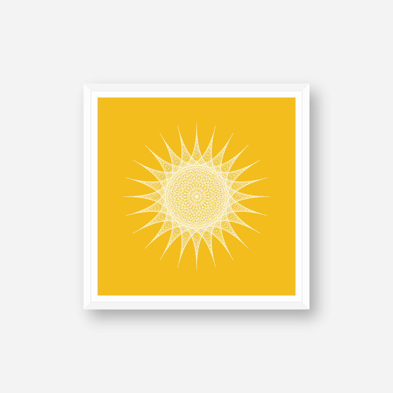 Abstract geometric sun pattern with yellow background minimalist downloadable printable wall art, digital print