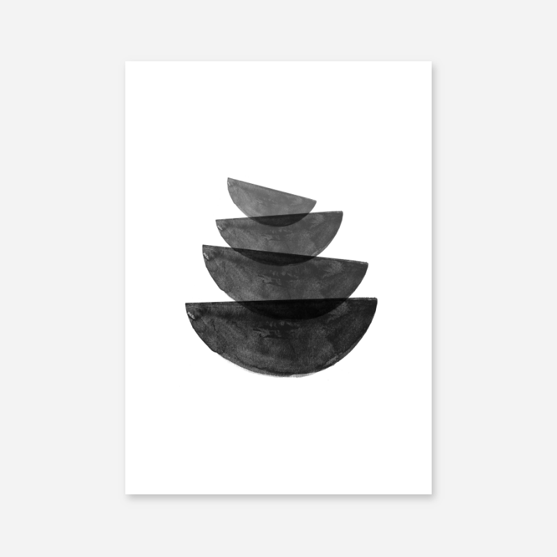Black and grey watercolour abstract bowl shapes downloadable wall art