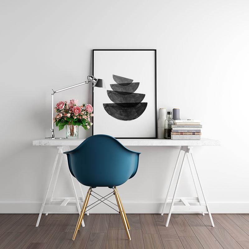 Black and grey watercolour abstract bowl shapes downloadable wall art, digital print