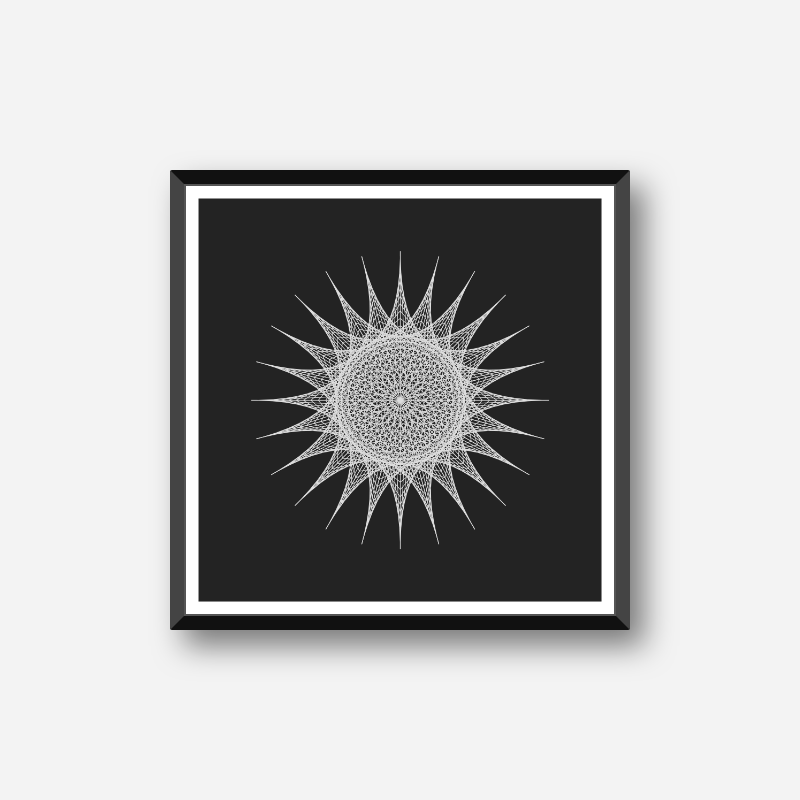 Abstract geometric sun pattern with black background minimalist downloadable printable wall art, digital print