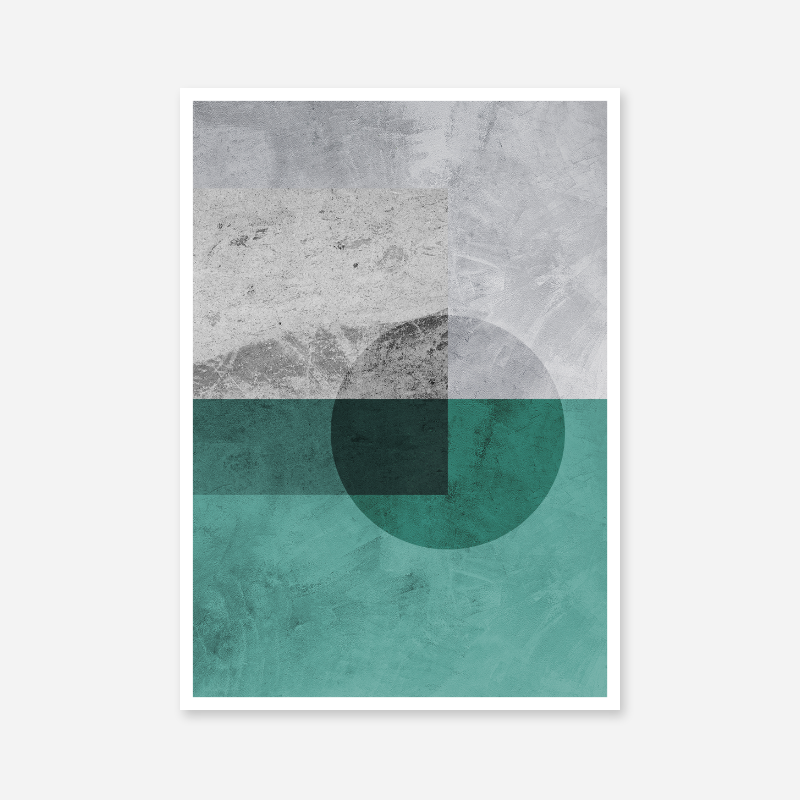 Black transparent circle with grey and teal concrete background downloadable free printable wall art