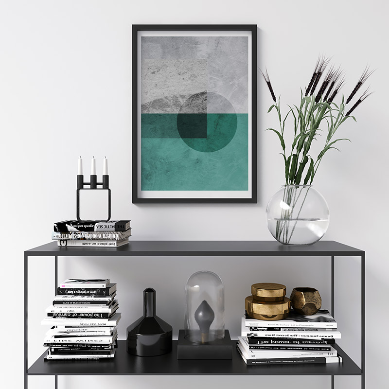Black transparent circle with grey and teal concrete background downloadable free printable wall art, digital print