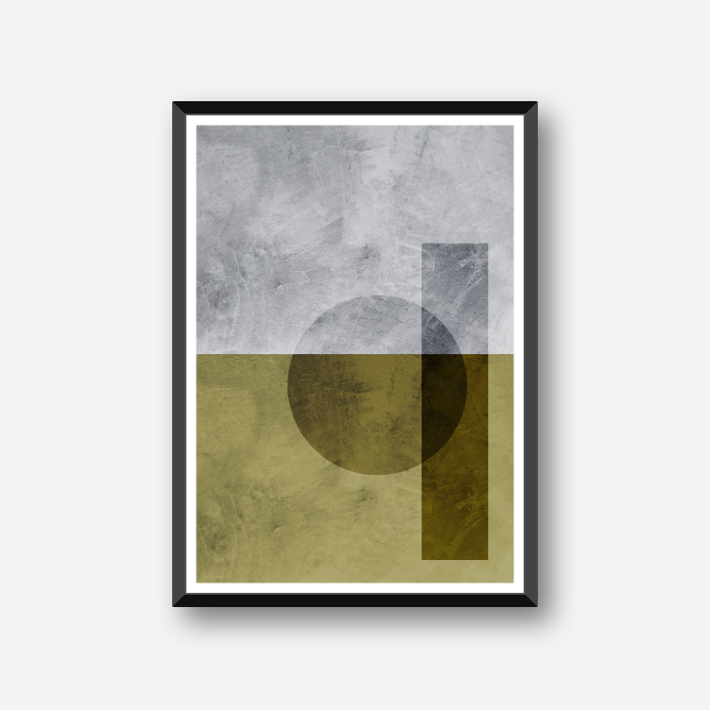 Black transparent circle and rectangle with grey and green concrete background downloadable free printable wall art