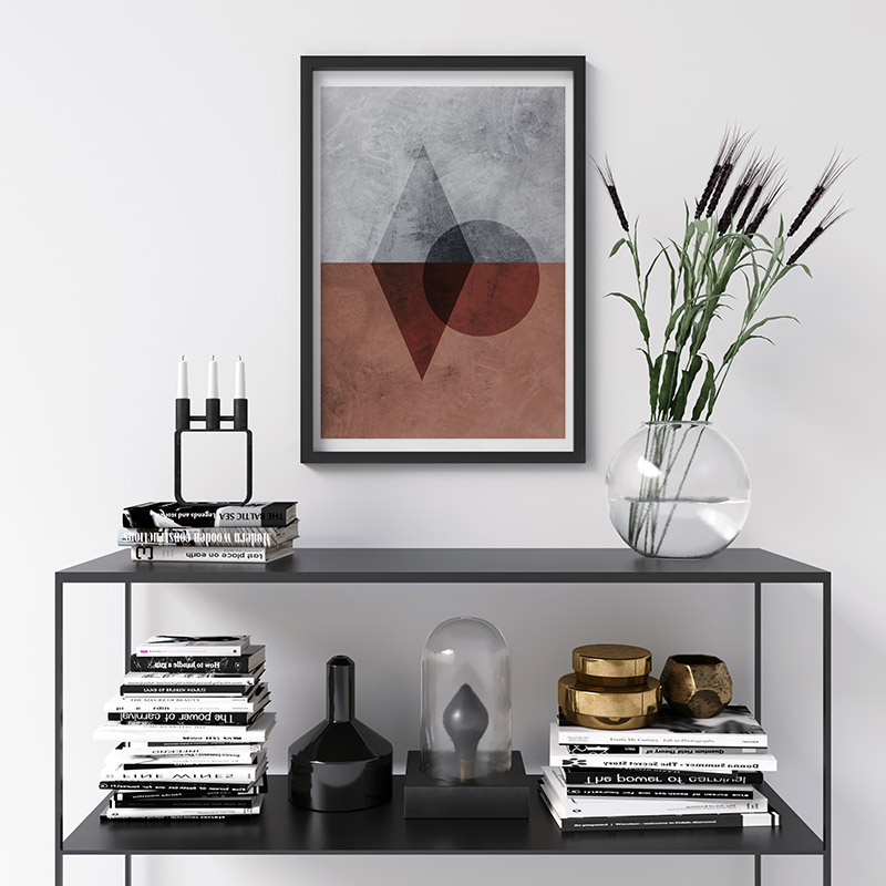 Black transparent circle and rhombus with grey and red concrete background downloadable free printable wall art, digital print
