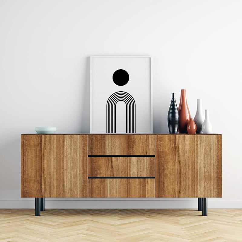 Black circle with rainbow fountain style geometric minimalist downloadable free printable wall art, digital print