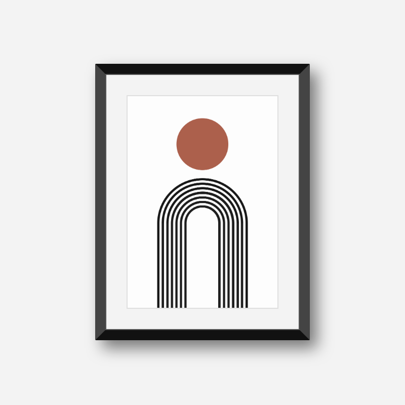 Red circle with black rainbow fountain style lines geometric minimalist downloadable free printable wall art, digital print