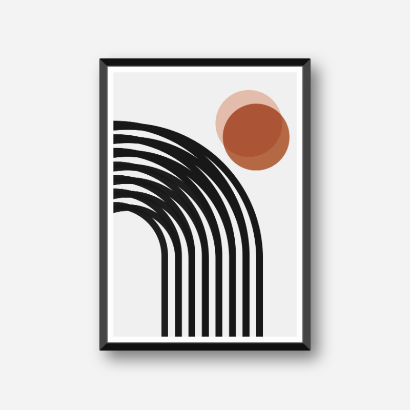 Red circles with black lines geometric minimalist downloadable free printable wall art, digital print