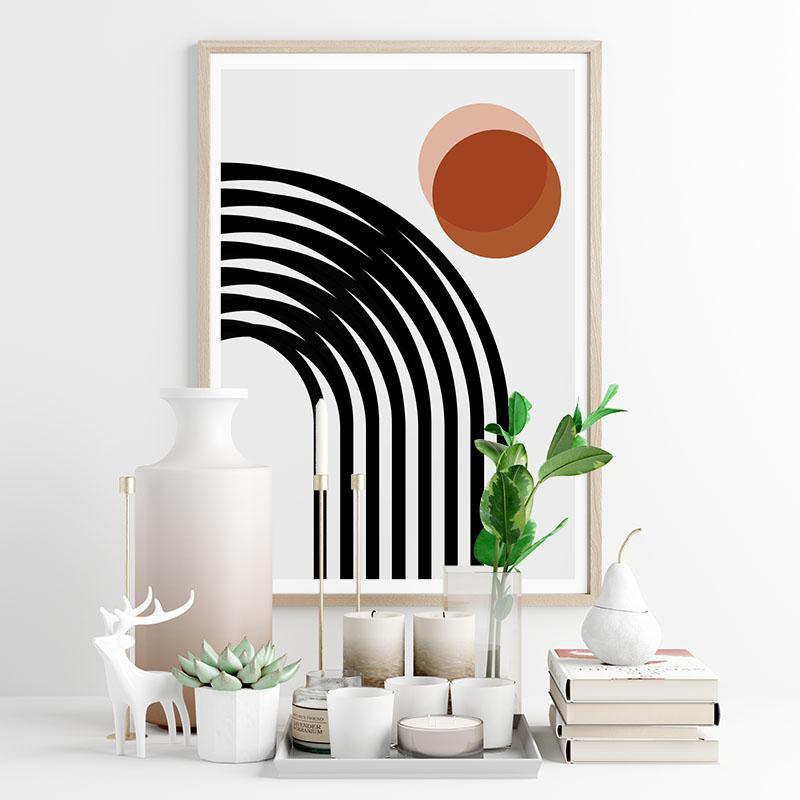 Red circles with black lines geometric minimalist downloadable free printable wall art, digital print