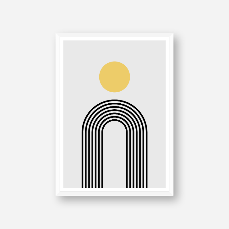 Yellow circle and black rainbow fountain style lines with grey background geometric minimalist downloadable printable wall art