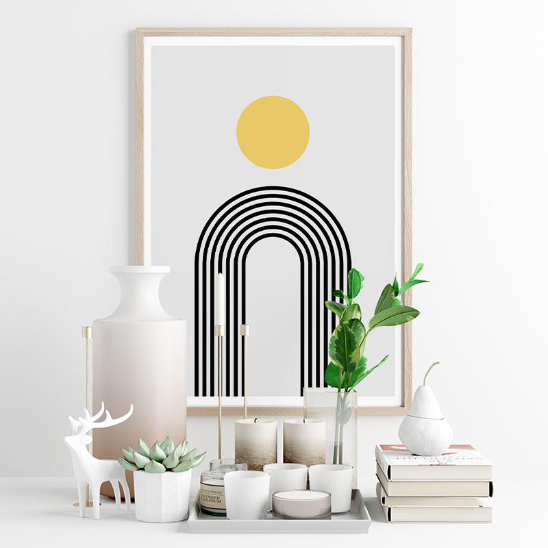 Yellow circle and black rainbow fountain style lines with grey background geometric minimalist downloadable printable wall art, digital print