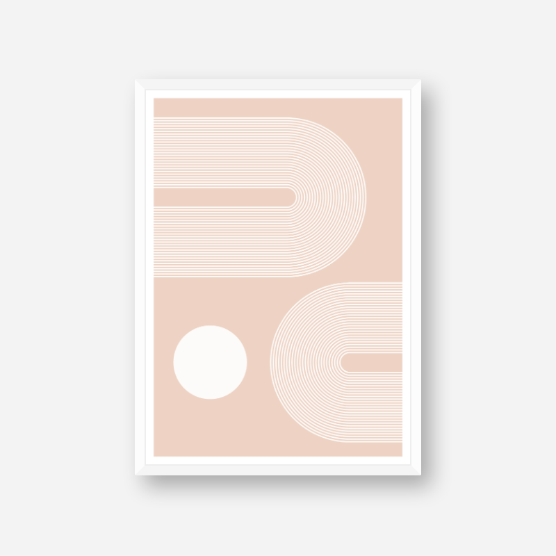 Concentric curvy white lines and circle with pale peach background geometric downloadable free printable, digital print