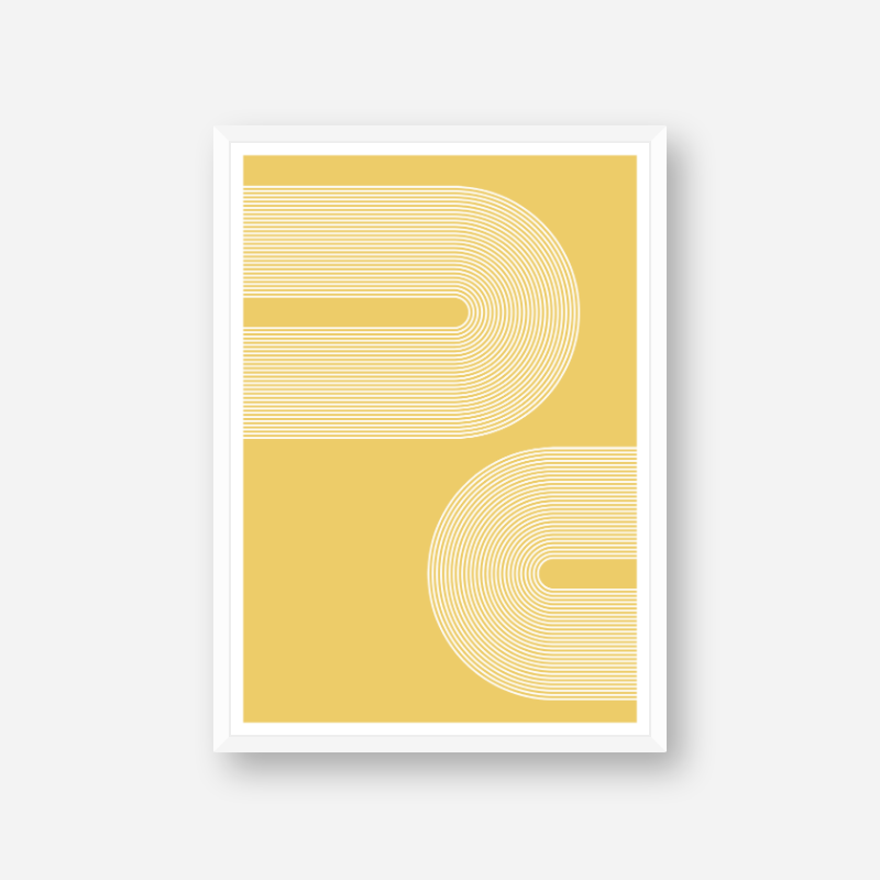 Concentric curvy white lines with yellow background geometric minimalist downloadable free printable, digital print