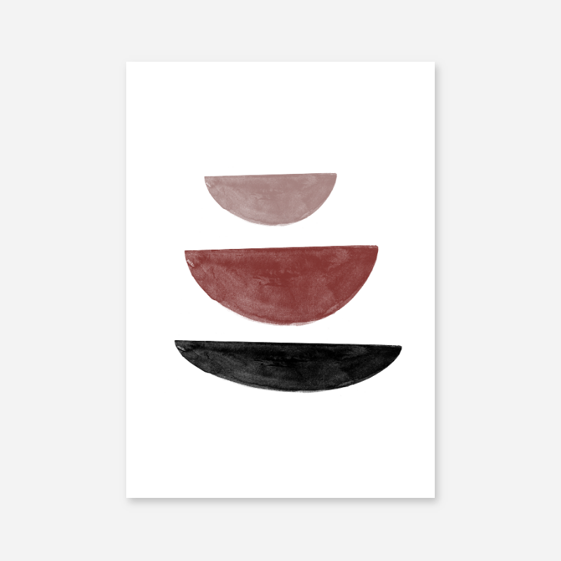 Black and red watercolour abstract shapes downloadable wall art