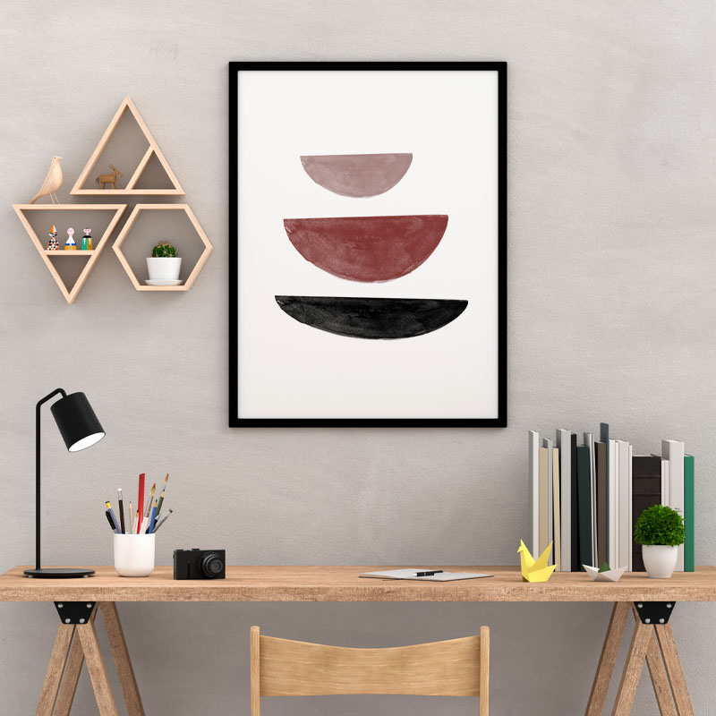 Black and red watercolour abstract shapes downloadable wall art, digital print