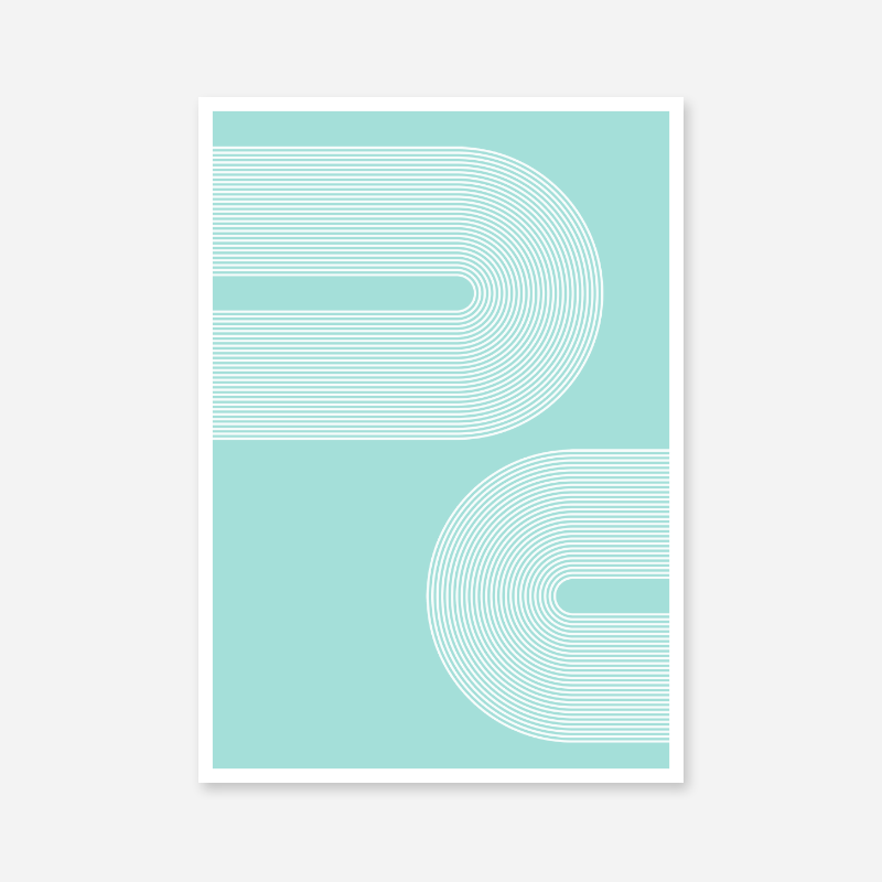 Concentric curvy white lines with light teal background geometric downloadable free printable