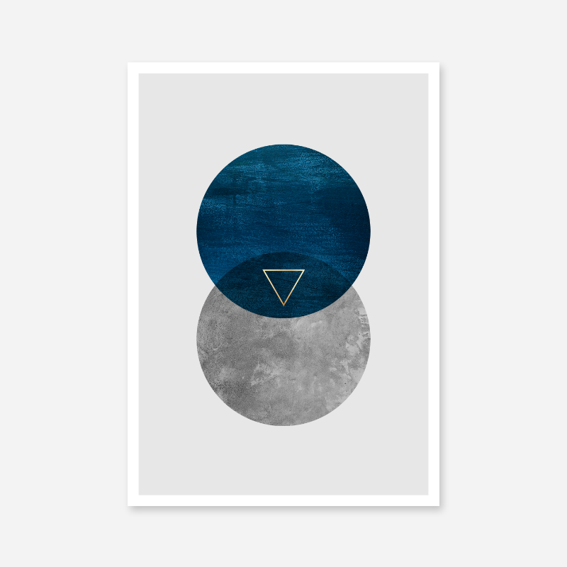 Two moon circles with blue velvet and concrete texture and golden triangle downloadable free printable wall art