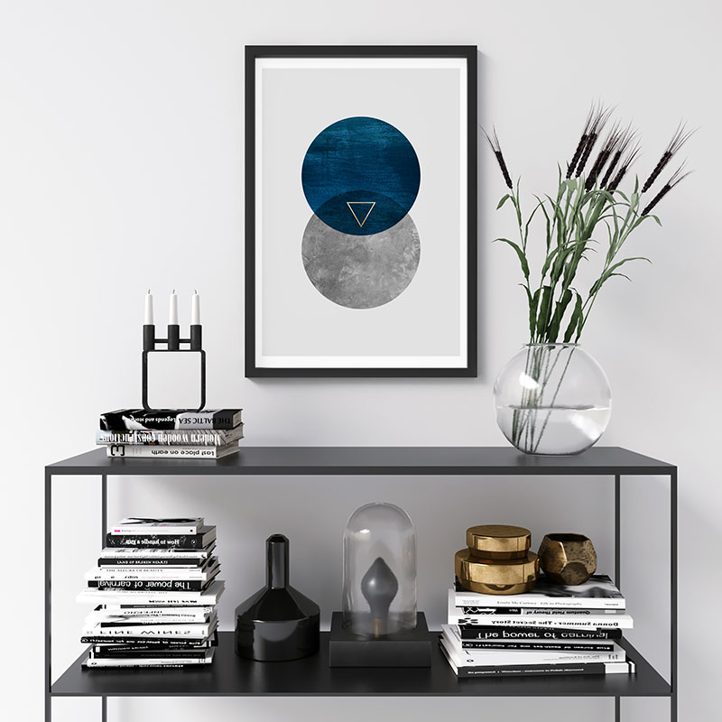 Two moon circles with blue velvet and concrete texture and golden triangle downloadable free printable wall art, digital print